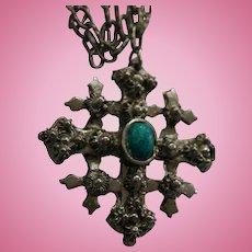 Silver-Plated Large Jerusalem Cross Pendant Necklace