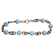 Vintage Amerikaner Gold-Filled Blue Turquoise Bracelet from Germany European