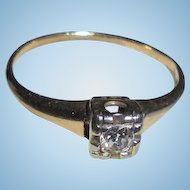 Art Deco Era 14K Gold Diamond Solitaire Ring TCW .075 Two-Tone Yellow & White Gold Size 6