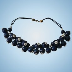 Unsigned Miriam Haskell Navy Blue Bauble Daisy Vintage Bib Necklace