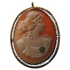 Large 14K Gold & Genuine Diamond Antique Carnelian Shell Goddess Cameo Brooch Pendant Edwardian