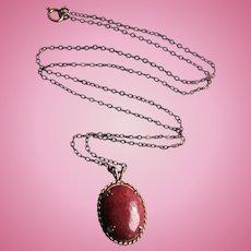 14K Gold Rhodocrosite Pendant  Vintage on Gold-Filled Chain Necklace