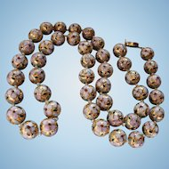 Golden Cloisonne Hand-Knotted Beaded Necklace Multi-color