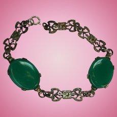 Art Deco Sterling Silver & Chrysoprase Bracelet
