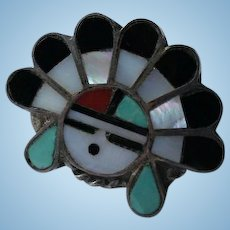 Sterling Silver Native American Navajo Inlaid Turquoise Onyx Coral Face Head-Dress Ring Size 6 1/4
