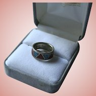 Inlaid Turquoise & Coral Band Sterling Silver Ring Signed CP Carolyn Pollack Size 5 1/4