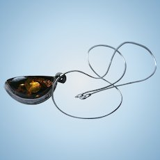 Sterling & Baltic Amber Chunky Crescent Moon Pendant Necklace with Inclusions