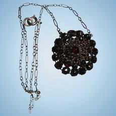 reserved# Antique Garnet Stacked Gold-Filled Pendant Necklace Victorian Era Inscribed L.C.T. January Birthstone