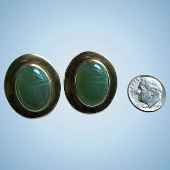 Chunky 14K Gold Scarab Chrysoprase Egyptian Revival Pierced Earrings Insect Jewelry