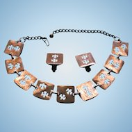 Vintage Copper Reticulated Fire Bird Design Chunky Bib Necklace and Earrings Set
