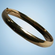 Krementz Signed Art Deco Era Gold-Filled Hinged Clamper Cuff Bangle Bracelet