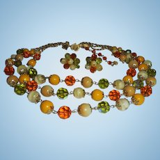 Vendome Butterscotch & Peridot Colored Crystal 3 Strand Necklace & Earring Set Demi Parure