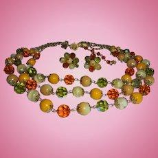Vendome Butterscotch & Peridot Colored Crystal 3 Strand Necklace & Earring Set Demi Parure