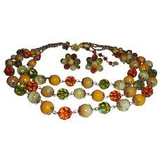 Vendome Butterscotch & Peridot Colored Crystal 3 Strand Necklace & Earring Set Demi Parure Autumn