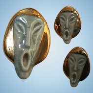 "Unusual Vintage ""The Scream"" Inspired Asian Face Brooch & Earrings Set"
