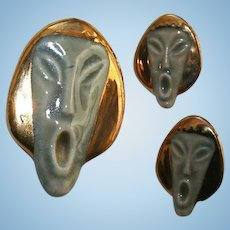 "Unusual Vintage ""The Scream"" Inspired Asian Face Brooch & Earrings Set"