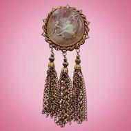 "Massive 6"" inch Vintage Dangling Cameo Brooch"