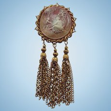 "Massive 6"" inch Vintage Dangling Cameo Brooch"