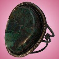 Large Navajo Bracelet Sterling Silver Pilot Mountain Turquoise Cuff Signed JM