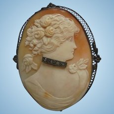 Rare Antique Diamond Sterling Cameo Lady with Choker Necklace