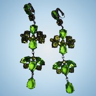 Giorgio Di Sant'Angelo Haute Couture Runway Green & Peridot Crystal Earrings New on Card