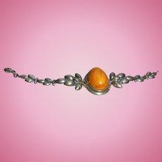 Bracelet Sterling Silver Butterscotch Amber Cabochon Jewelry