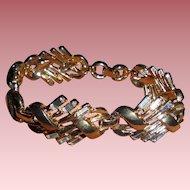 Dazzling Alfred Philippe Crown Trifari Rhinestone Baguette Link Bracelet