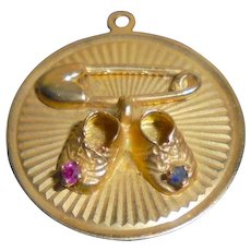 14K Gold Safety Pin & Baby Shoes Jeweled Solid Yellow Gold Pendant Charm