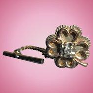 10K Gold & Diamond Shamrock Four Leaf Clover Tie-Tac Pin Men's