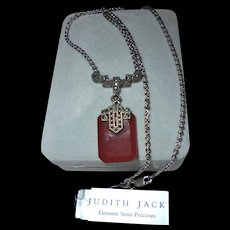 Vintage Judith Jack NWT Sterling Silver Carnelian Marcasite Pendant Necklace - Red Tag Sale Item