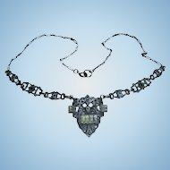 Art Deco Sterling Silver Clear Crystal & Marcasite Draping Bib Pendant Necklace