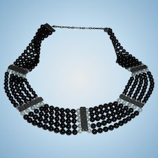 Sterling Onyx Cultured Pearl Marcasite 5 Strand Bib Necklace Very Intricate