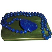 Lapis Lazuli Double Heart Carved Beaded Side Pendant Necklace