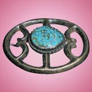Navajo Morenci Turquoise Sterling Silver Belt Buckle Vintage