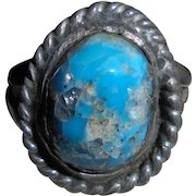 Rare Navajo Kingman Blue Turquoise with Quartz Inclusions Sterling Silver Ring