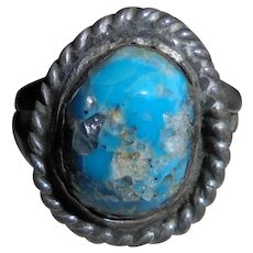 Rare Navajo Kingman Blue Turquoise with Quartz Inclusions Sterling Silver Ring Native American Jewelry