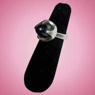 Sven Haugaard Space Age Sterling Silver Hematite Modernist Denmark Ring Size 5.75 Danish Modern