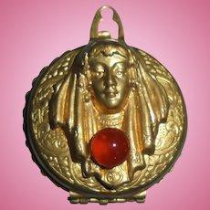 Antique Art Nouveau Lady Repousse Double Locket Watch Case Gold-Filled Carnelian