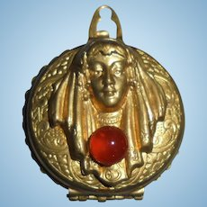 Antique Art Nouveau Lady Repousse Double Locket Watch Case Gold-Filled Carnelian