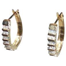 14K Gold Diamonds Channel Set Hoop Earrings Baguette & Round Cut
