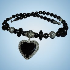 Chunky 925 Onyx Marcasite Heart Pendant Necklace Sterling Silver