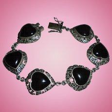 Chunky Sterling Silver Onyx Marcasite Heart Chunky Link Bracelet