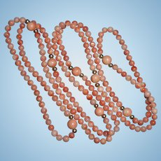 "Vintage 14K Pink Coral 34"" inch Beaded Sautoir Necklace Fine 3mm Beads"