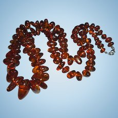 Vintage Genuine Baltic Amber Graduated Bead Hand-Knotted Necklace Sterling Silver Clasp