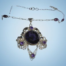 Reserved for W*** Art Deco Ges Gesch German Victorian Amethyst Glass Marcasite Silver Pendant Necklace