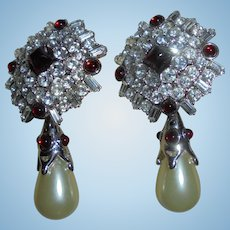 Gorgeous KJL Signed Brilliant Drop Earrings Baroque Faux Pearl Ruby Red Crystal c1980's