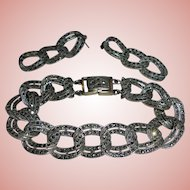 Sterling Silver Marcasite Bracelet & Earrings Set Pierced