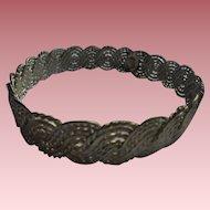 Vintage Sterling Silver Woven Design Modernist Chunky Bracelet