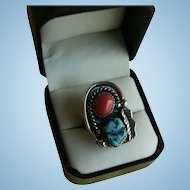 Gorgeous Navajo Squash Blossom Ring Signed Mar.  Ly Turquoise Red Coral