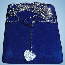 18K Pave Diamond 2 Entwining Hearts White Gold Lariat Necklace Heart